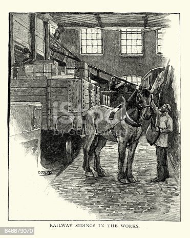 Vintage engraving of a draught horse in the railway sidings of Huntley and Palmers biscuit factory, Readng, England. 1892