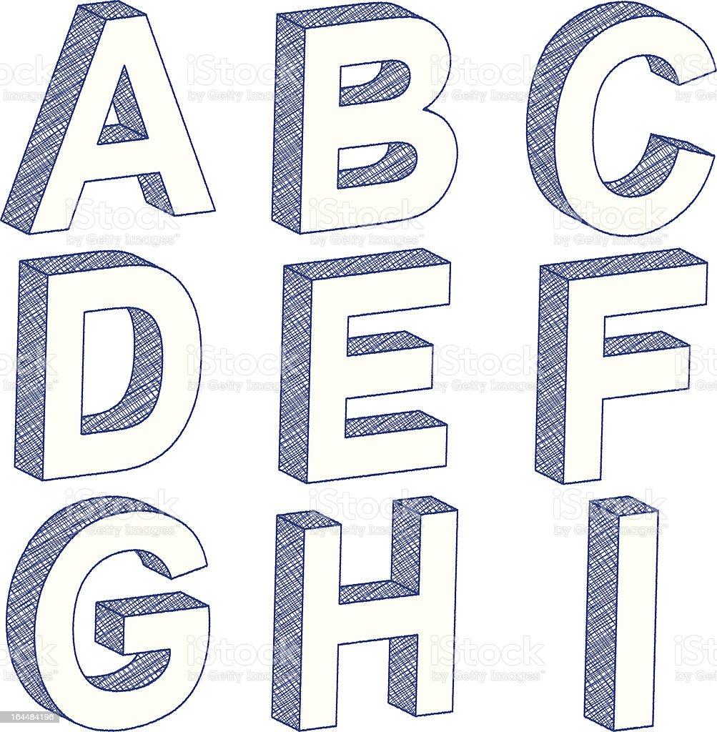 Dessin 3d de lettre autoroute a1 cliparts vectoriels et for Dessin en 3d