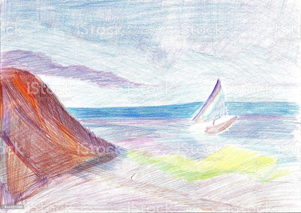 Ilustración de Dibujo De Un Velero En El Mar Una Isla Y Una Nubes y ...