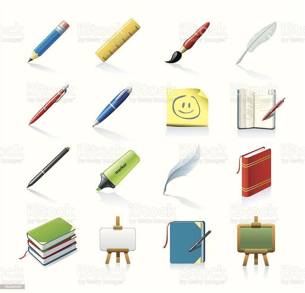 drawing and writing icons vector art illustration