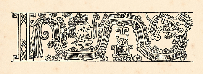 Drawing aztec civilization relief from temple in mexico