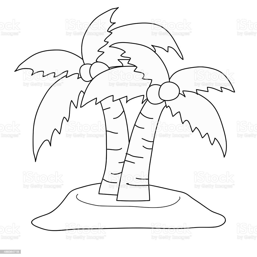 Drawing Cartoon Coconut Tree Black Stripes Stock Vector Art & More ...