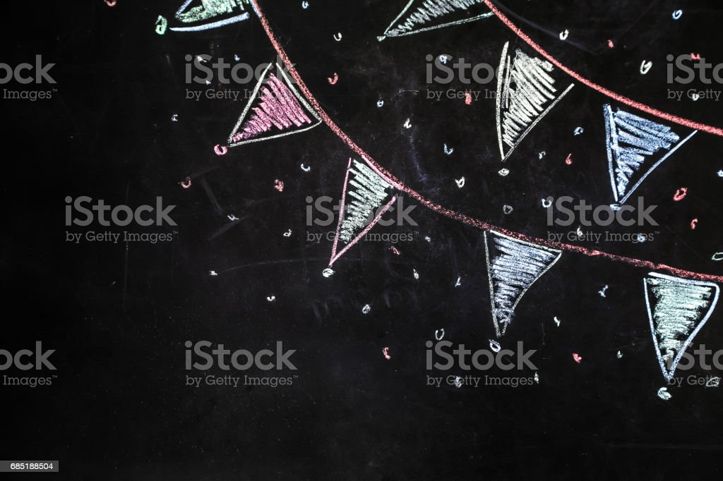 drawing chalk flags on the black background vector art illustration