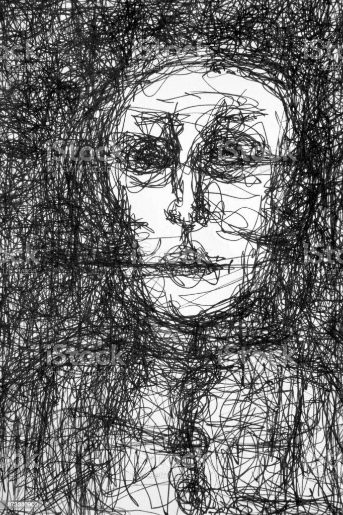 drawing creepy man pen ink vector art illustration