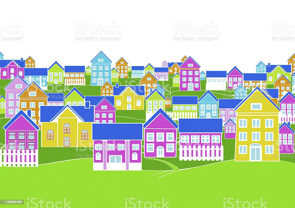 drawing dream village colorful illustration. royalty-free stock vector art