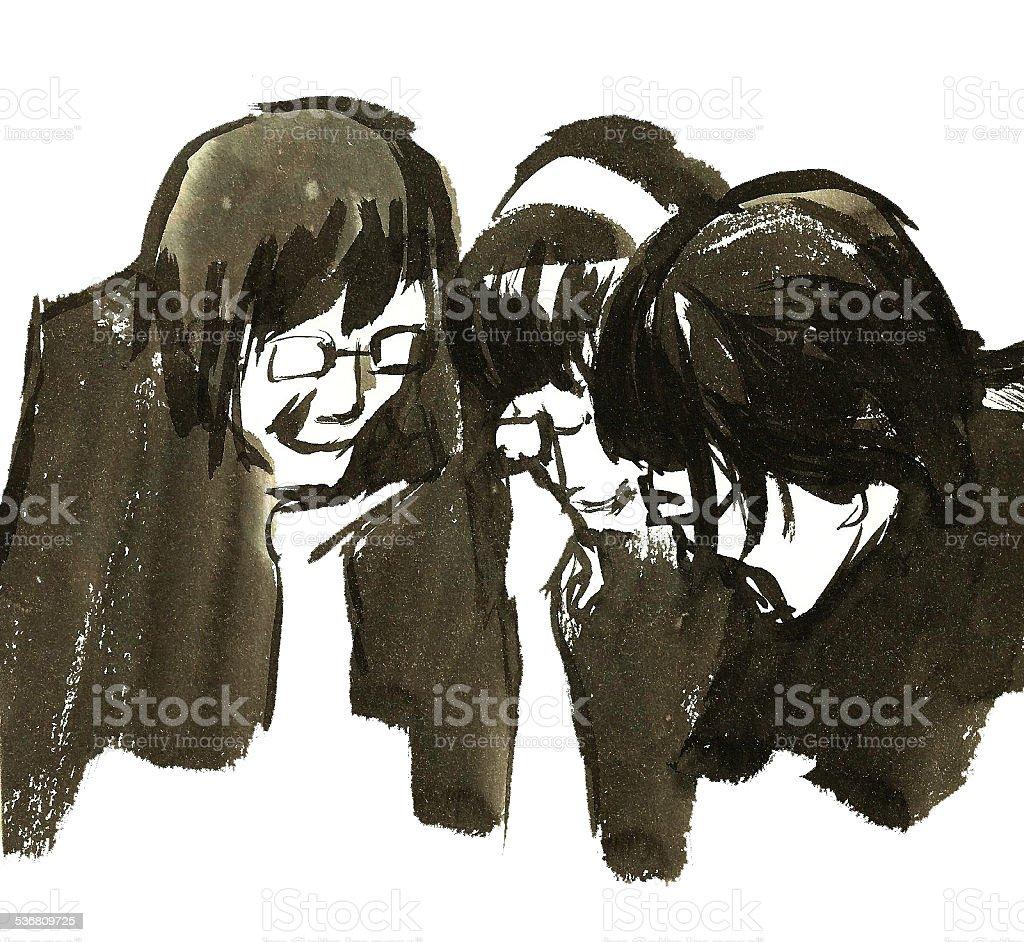 drawing - friends vector art illustration