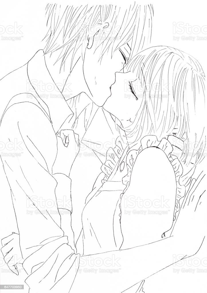 Drawing In The Style Of Anime Image Enamored Girl And Guy Picture