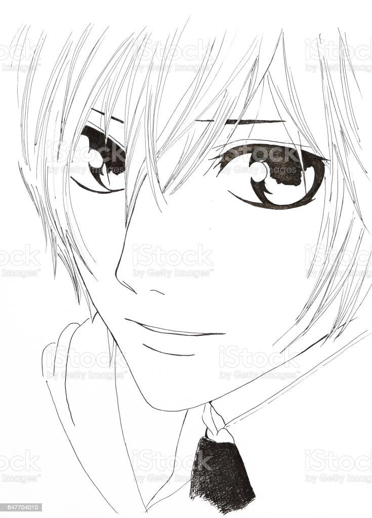 Ilustracion De Dibujo Del Estilo De Anime Imagen De Un Hombre En La
