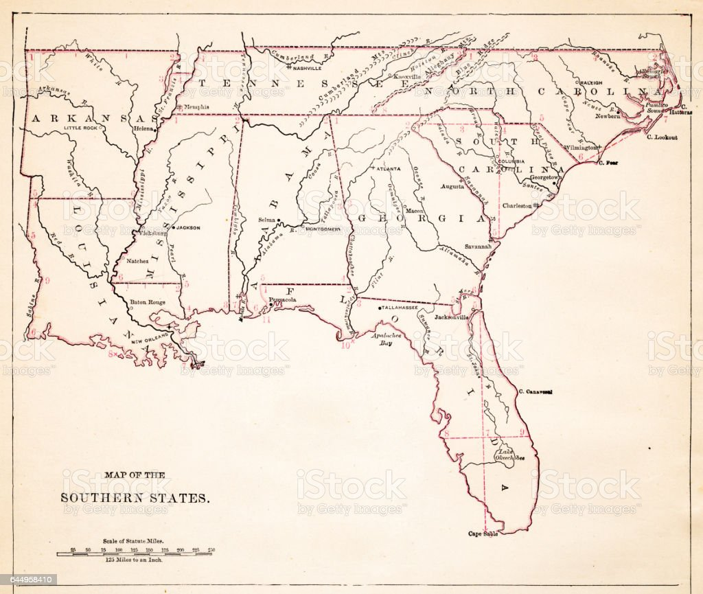 Drawing Map Of Southern States Usa Stock Vector Art - Map of southern us