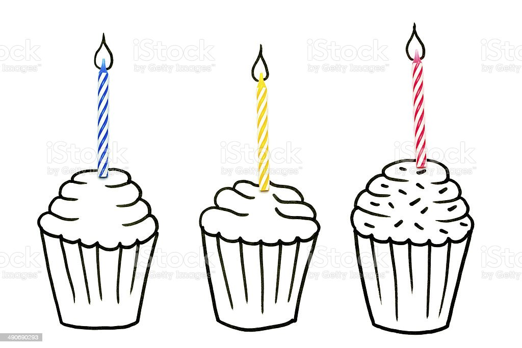 Drawing Objects Cupcakes And Candles Stock Vector Art ...