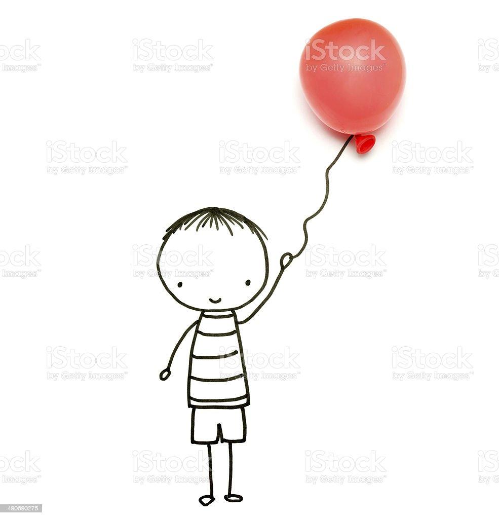 Dessin Objetspetit Garcon Avec Ballon De Baudruche Vecteurs Libres
