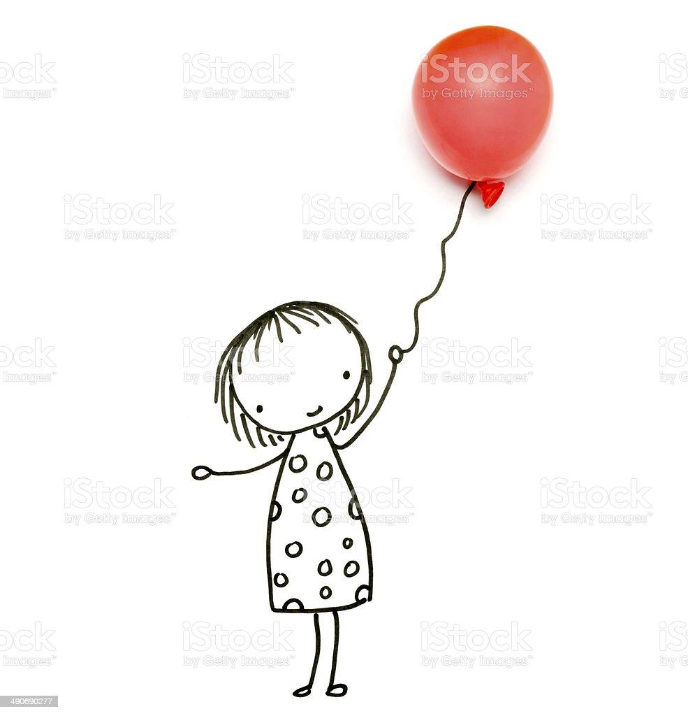 Dessin Objets De Petite Fille Avec Ballon De Baudruche Vecteurs