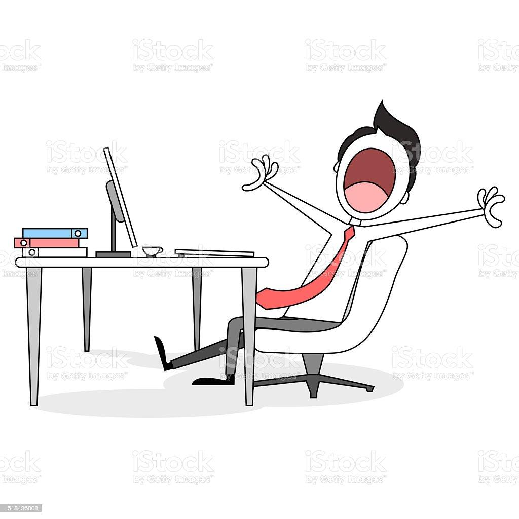 Abbildung Von Einem Cartoon Geschaftsmann Gahnen Am Schreibtisch Stock Vektor Art Und Mehr Bilder Von Berufliche Beschaftigung Istock