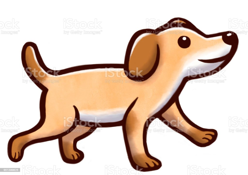 Drawing Of A Cute Dog Walking Stock Illustration Download Image Now Istock