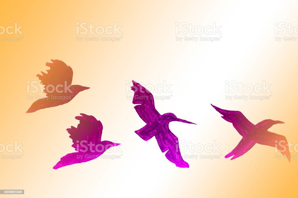 A Drawing Of A Flock Of Birds Flying On A Colorful Background With Many Yards Stock Illustration Download Image Now Istock