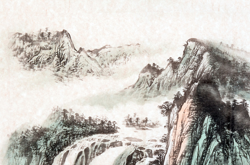 Chinese traditional painting, landscape with mountain and river.