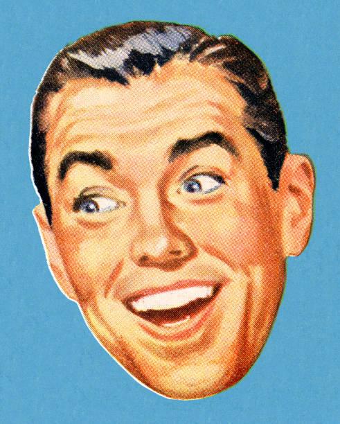 stockillustraties, clipart, cartoons en iconen met drawing of a smiling man glancing to the side - wegkijken
