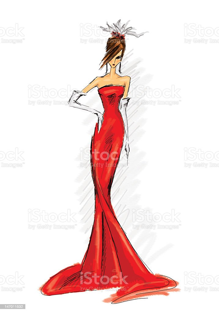 Drawing of a woman in a long red dress vector art illustration