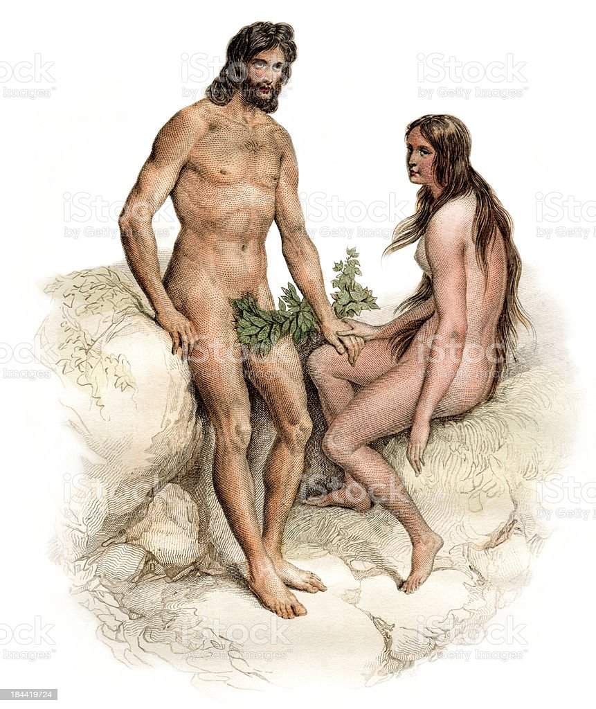 Drawing of Adam and Eve wearing leaves sitting on rocks vector art illustration