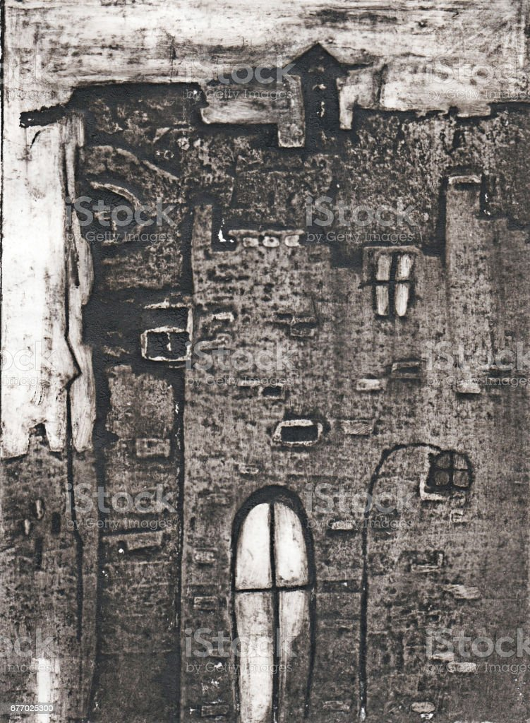Drawing Of An Old Abandoned House With A Large Window Royalty Free