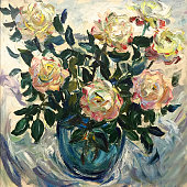 Drawing of bright sunny bouquet in blue vase. Picture contains interesting idea, evokes emotions, aesthetic pleasure. Canvas stretched on a stretcher, oil natural paints. Concept art painting texture