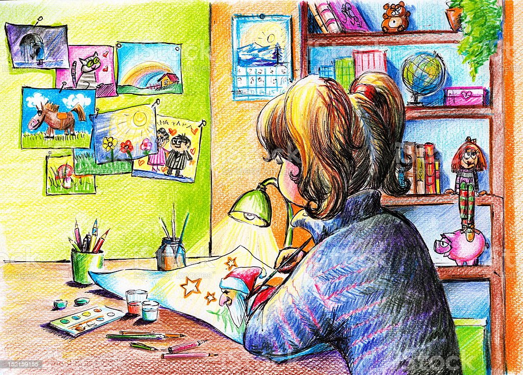 Dessin De Fille Peinture Dans Sa Chambre Vecteurs Libres De