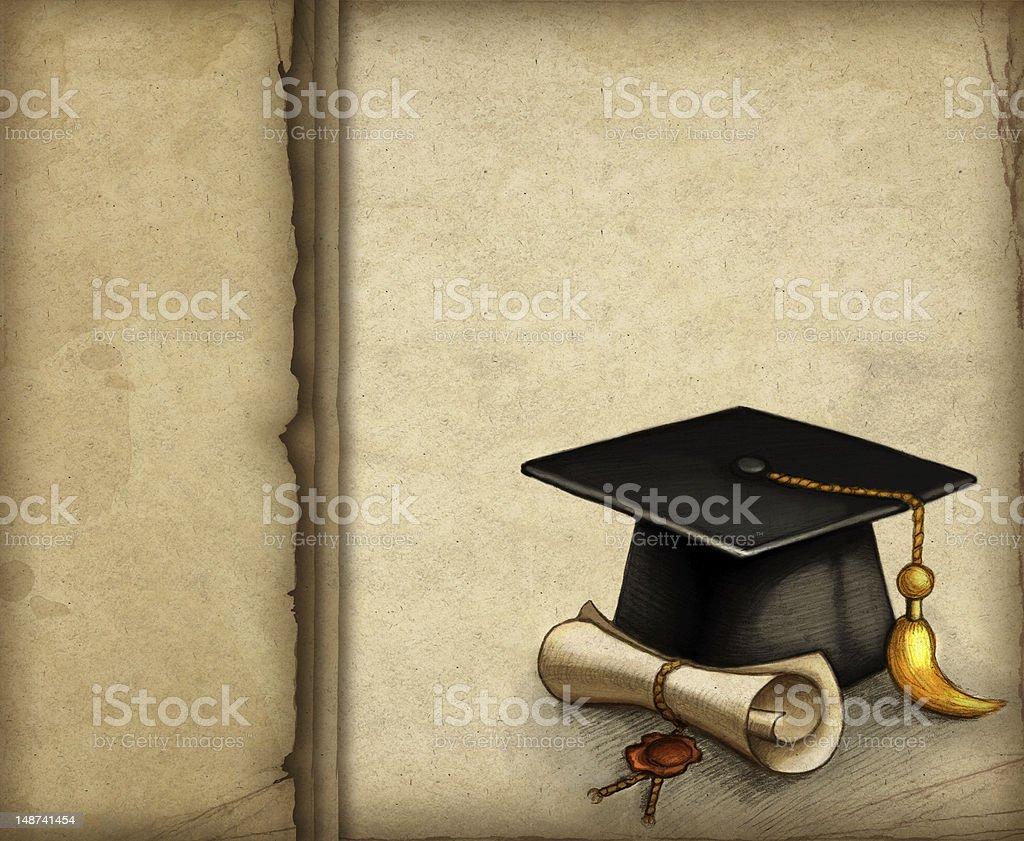 Drawing of graduation cap royalty-free stock vector art