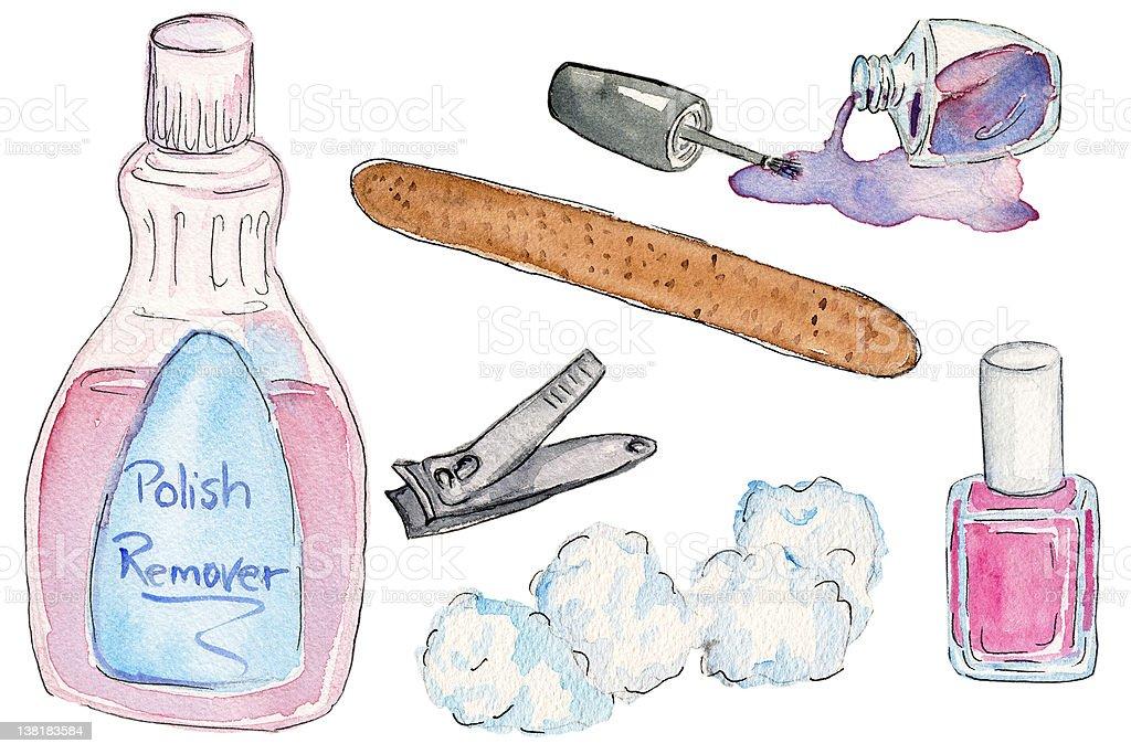 Drawing of nail polish, cotton balls and remover vector art illustration