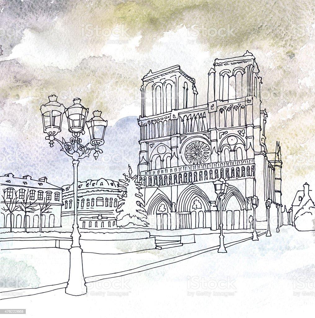 Notre Dame De Paris Disegno.Drawing Of Notre Dame De Paris France Stock Illustration