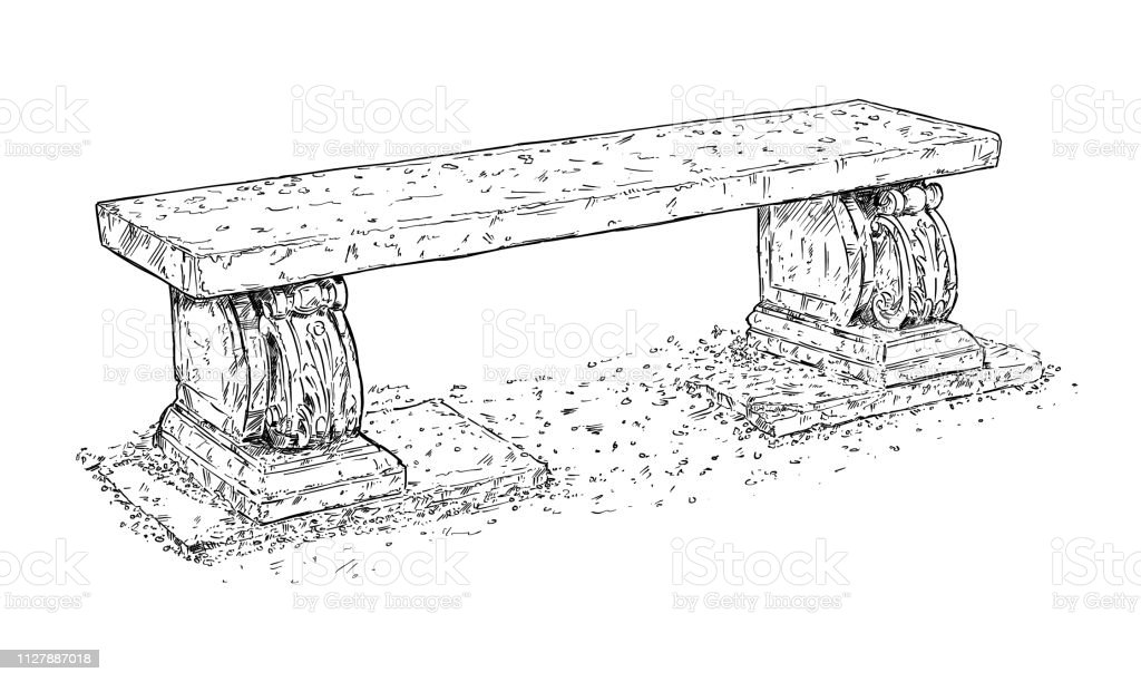 Cool Drawing Of Old Antique Outdoor Park Or Garden Stone Bench Or Bralicious Painted Fabric Chair Ideas Braliciousco