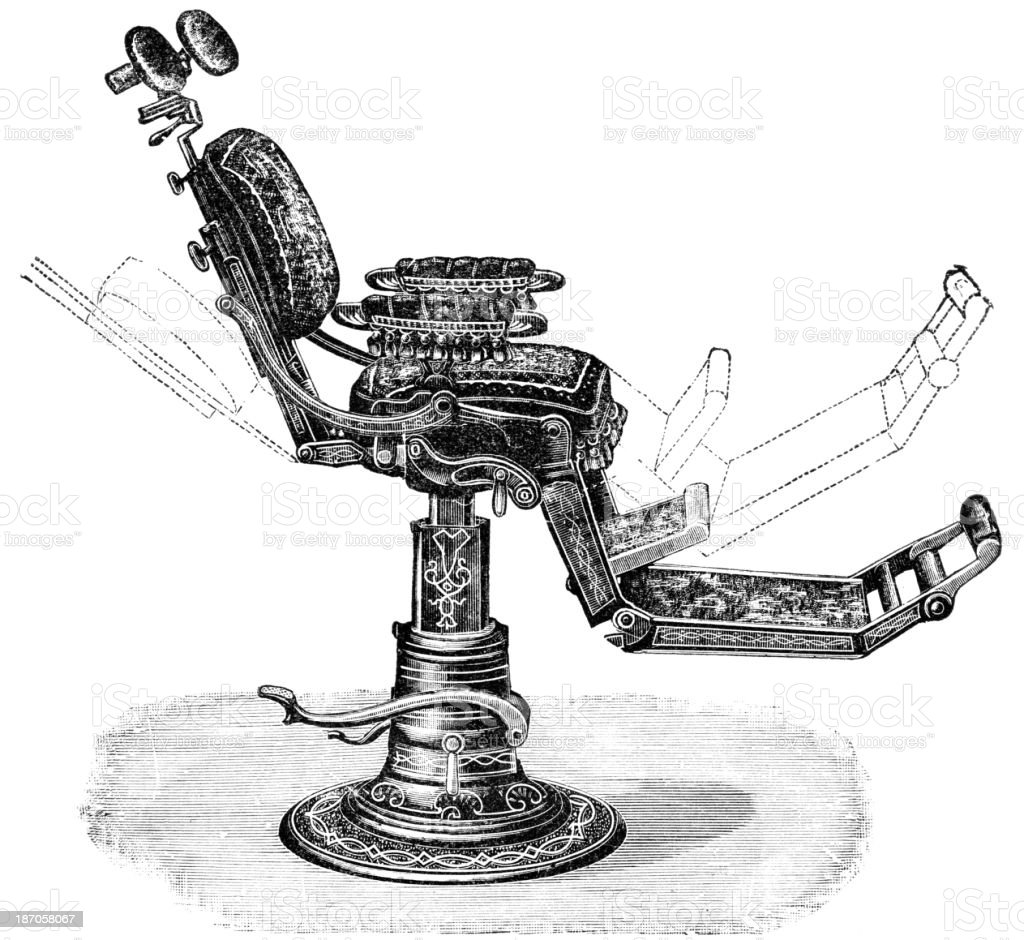 Drawing of old fashioned dentist chair showing how it moves vector art illustration