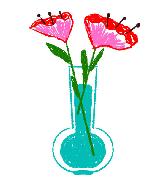 Drawing of poppy flowers in vase with water Poppy flowers in vase drawing kathrynsk stock illustrations