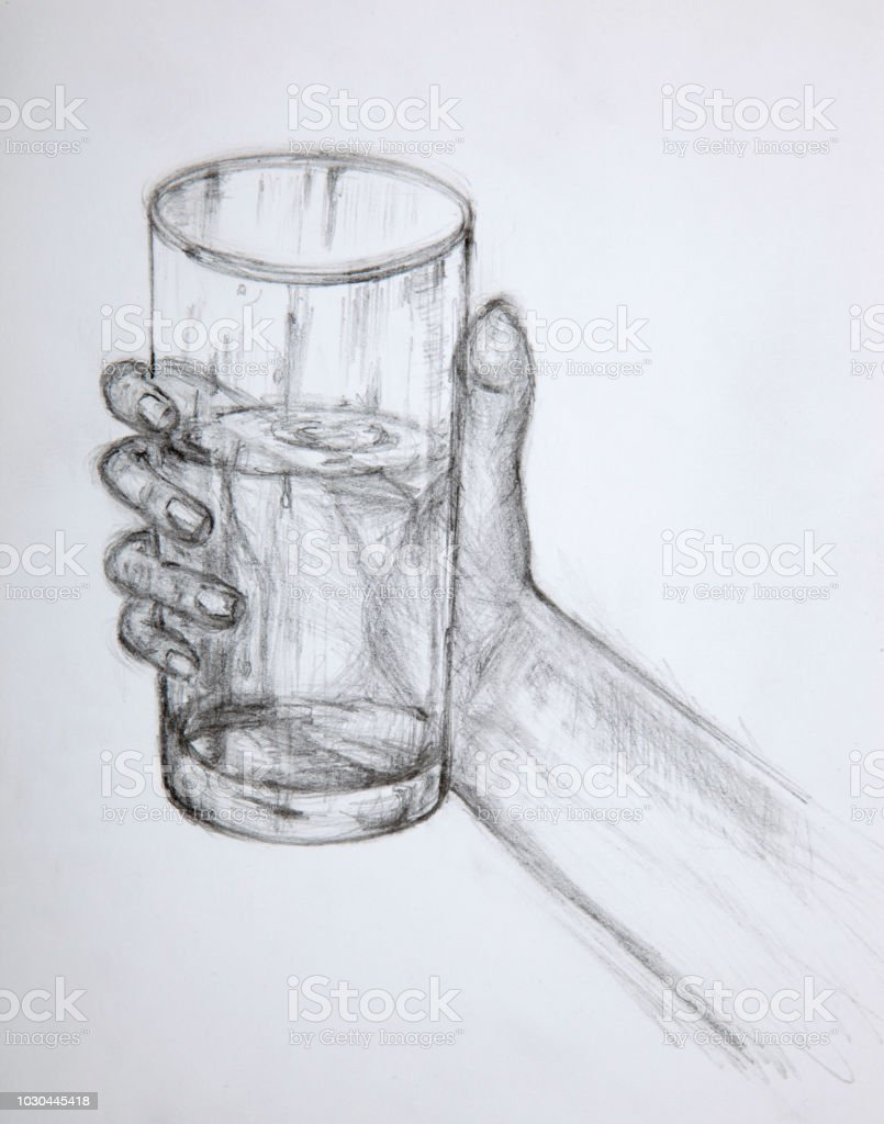 Drawing pencil hand holding glass stock illustration download