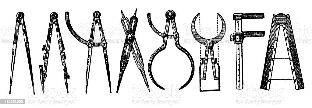 Drawing Tools | Antique Design Illustrations royalty-free drawing tools antique design illustrations stock vector art & more images of 19th century