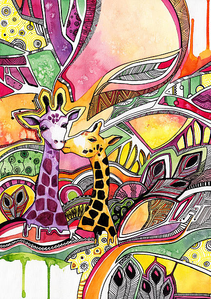 Drawing watercolor giraffes in love on abstract background vector art illustration