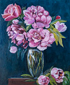 still life of flowers, chrysanthemums in a vase, oil painting