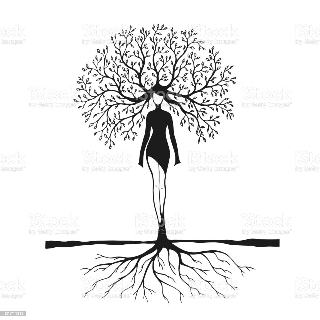 Drawing women tree nature stock vector art more images - Dessin de nature ...