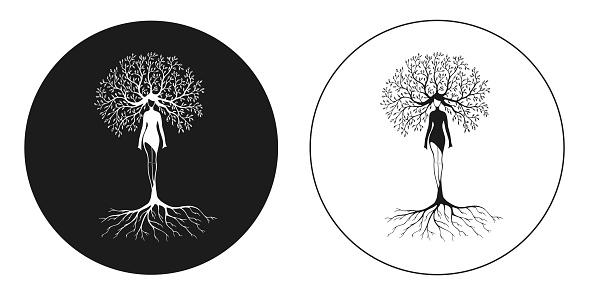 drawing women tree nature