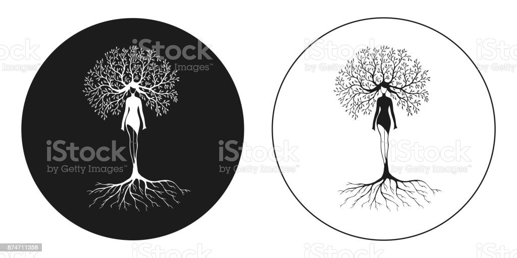 drawing women tree nature vector art illustration