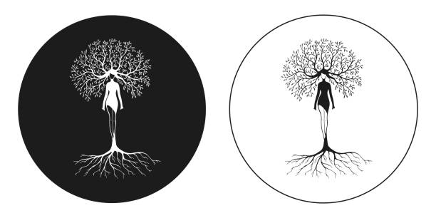 drawing women tree nature vector art illustration