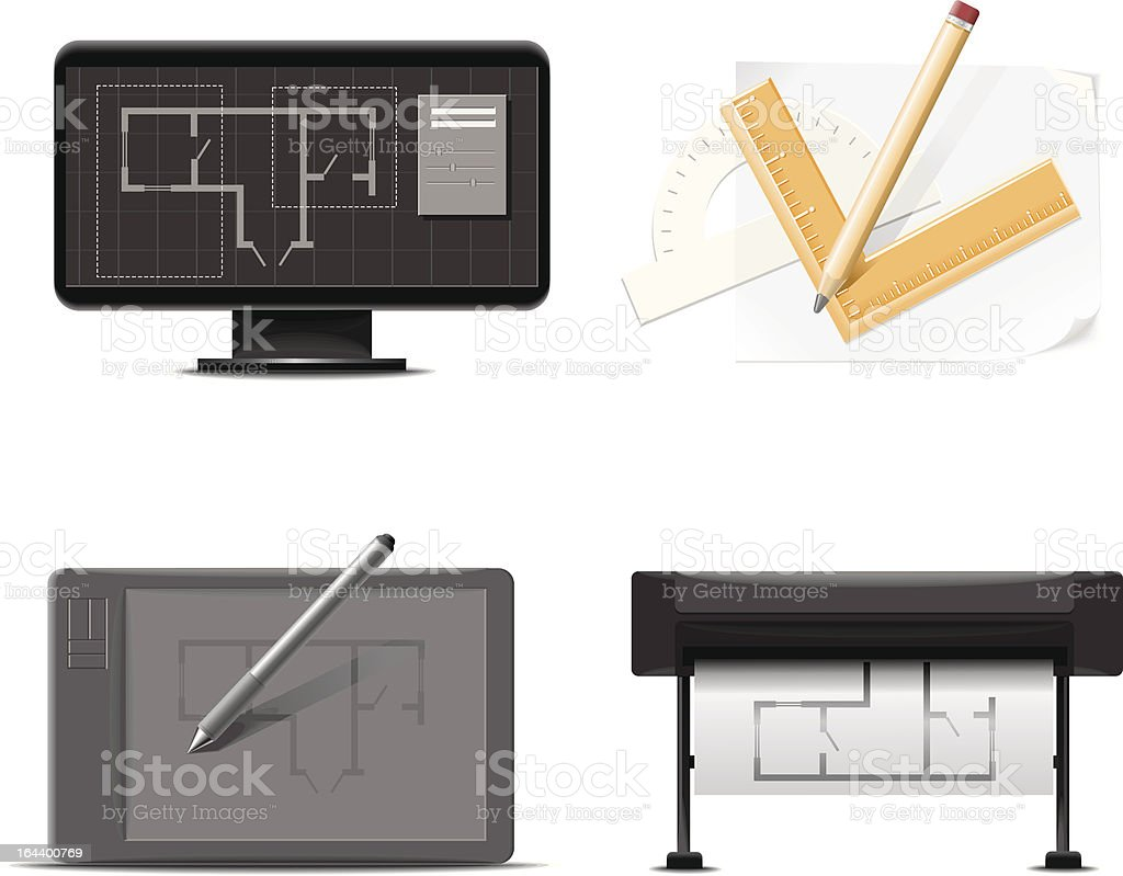 drawings instruments royalty-free stock vector art