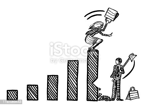 Freehand drawing of business man cutting down growth bar of female rival, while businesswoman atop is fighting back. Metaphor for career envy, rivalry, competition, battle of sexes, chauvinism.