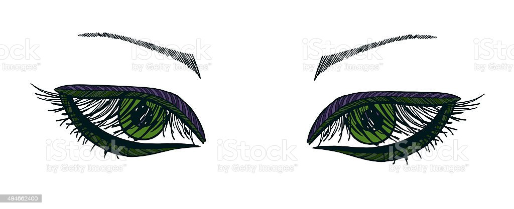 Drawn eyes.Graphic style. Green eyes vector art illustration
