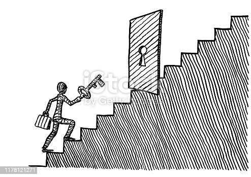 Freehand pen drawing of a business man with big key in hand approaching a locked door blocking his ascension up a staircase. Metaphor for growth, career, knowledge, challenge, freedom, opportunity.