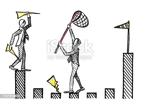 Freehand ink pen drawing of one businessman throwing paper airplanes towards the goal post, while a manager is intercepting with a dip net. Business metaphor for career rivalry, interference, task.