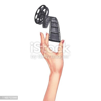 Drawn woman's hand holding film strip on a white background. Front view.