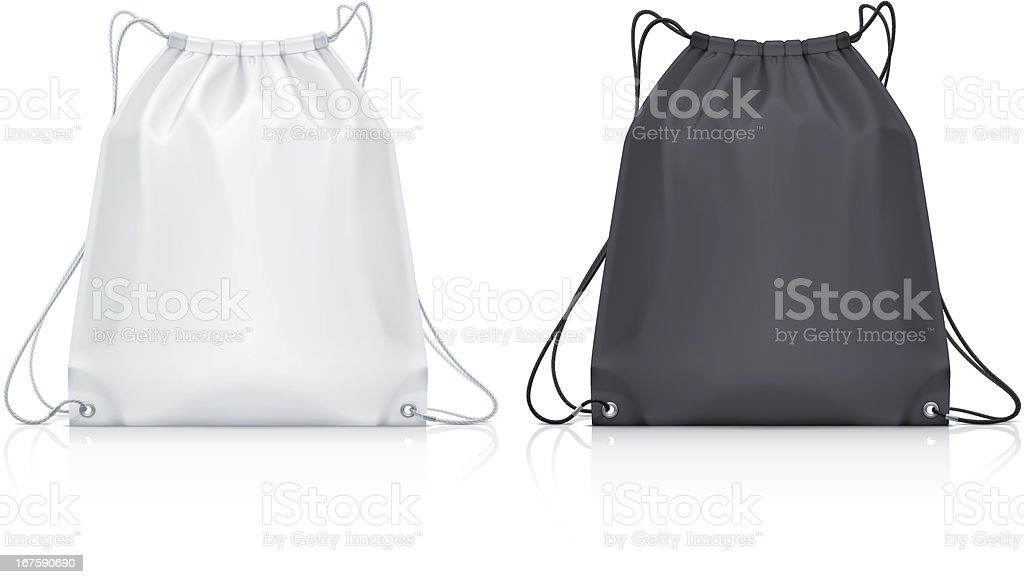 Drawstring backpack vector art illustration