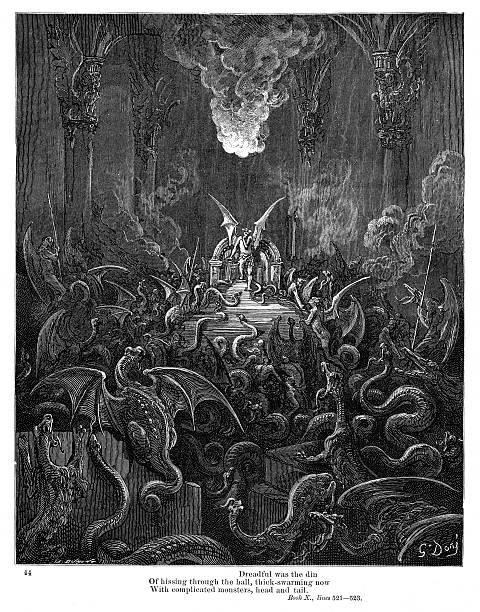 illustrazioni stock, clip art, cartoni animati e icone di tendenza di dreadful was the din of hissing through the hall 1885 - dante alighieri