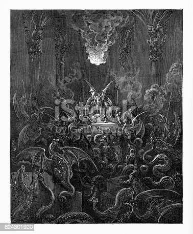 Very Rare, Beautifully Illustrated Antique Engraving of Dreadful was the din of hissing through the hall, Victorian Engraving, 1885. Source: Original edition from my own archives. Copyright has expired on this artwork. Digitally restored.