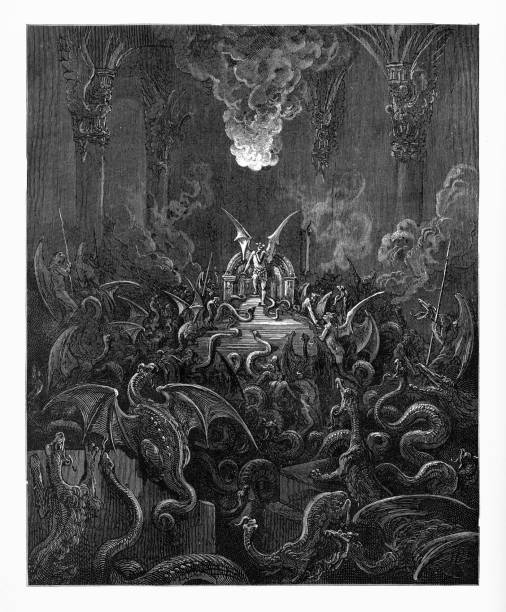 Dreadful was the din of hissing through the hall Victorian Engraving, 1885 Very Rare, Beautifully Illustrated Antique Engraving of Dreadful was the din of hissing through the hall, Victorian Engraving, 1885. Source: Original edition from my own archives. Copyright has expired on this artwork. Digitally restored. rymdraket stock illustrations